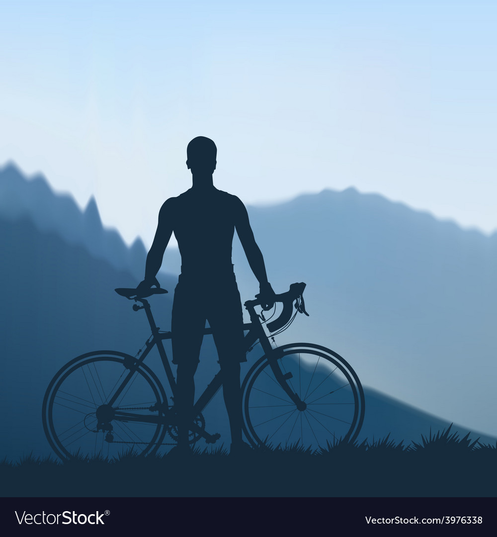 Cyclist in the mountains vector | Price: 1 Credit (USD $1)