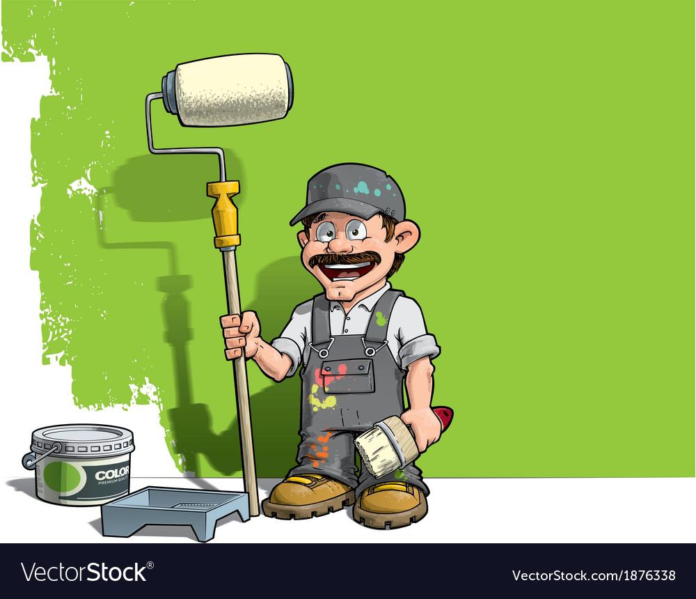 Handyman wall painter gray uniform vector | Price: 3 Credit (USD $3)