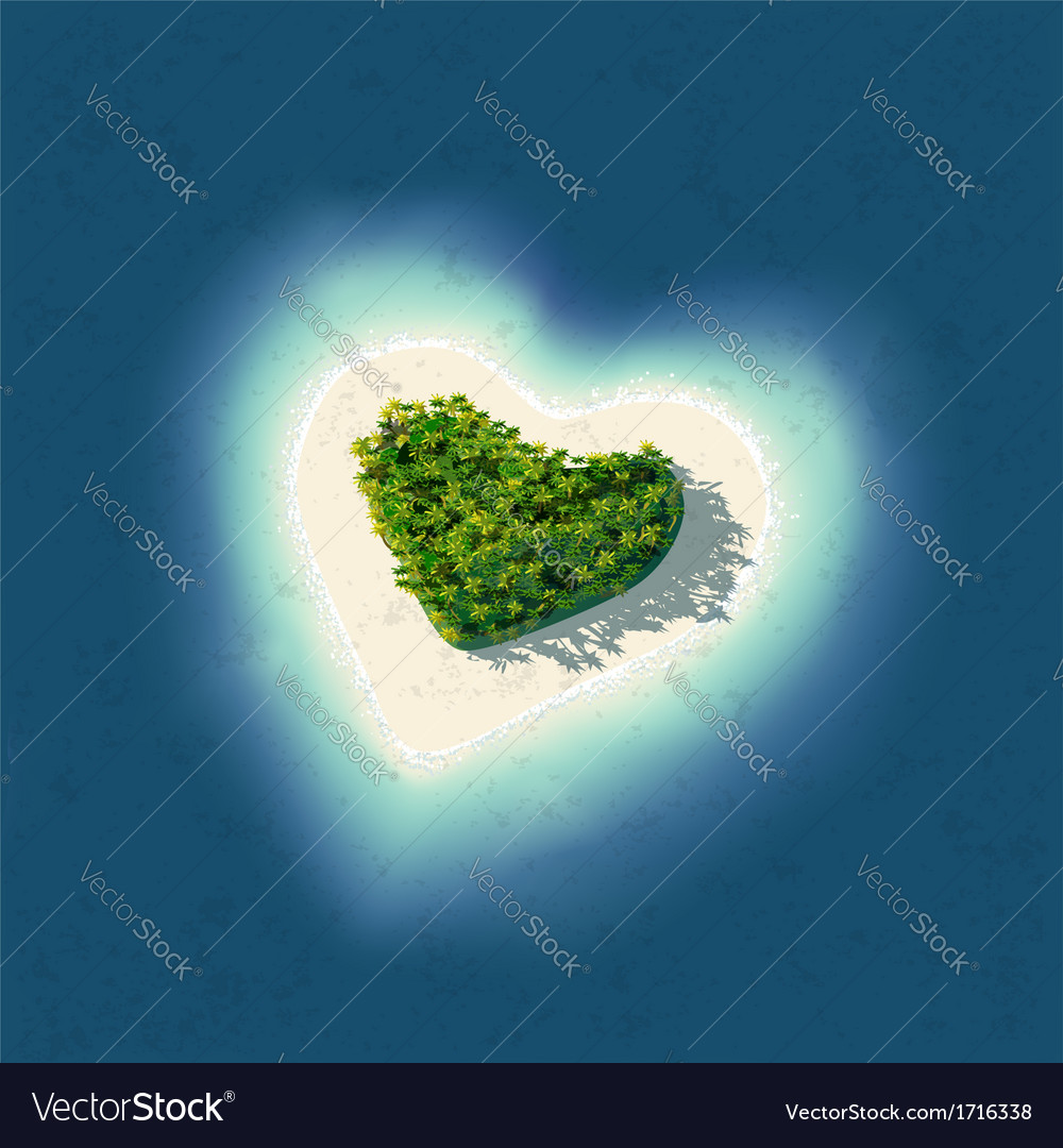 Heart shaped tropical island vector | Price: 1 Credit (USD $1)