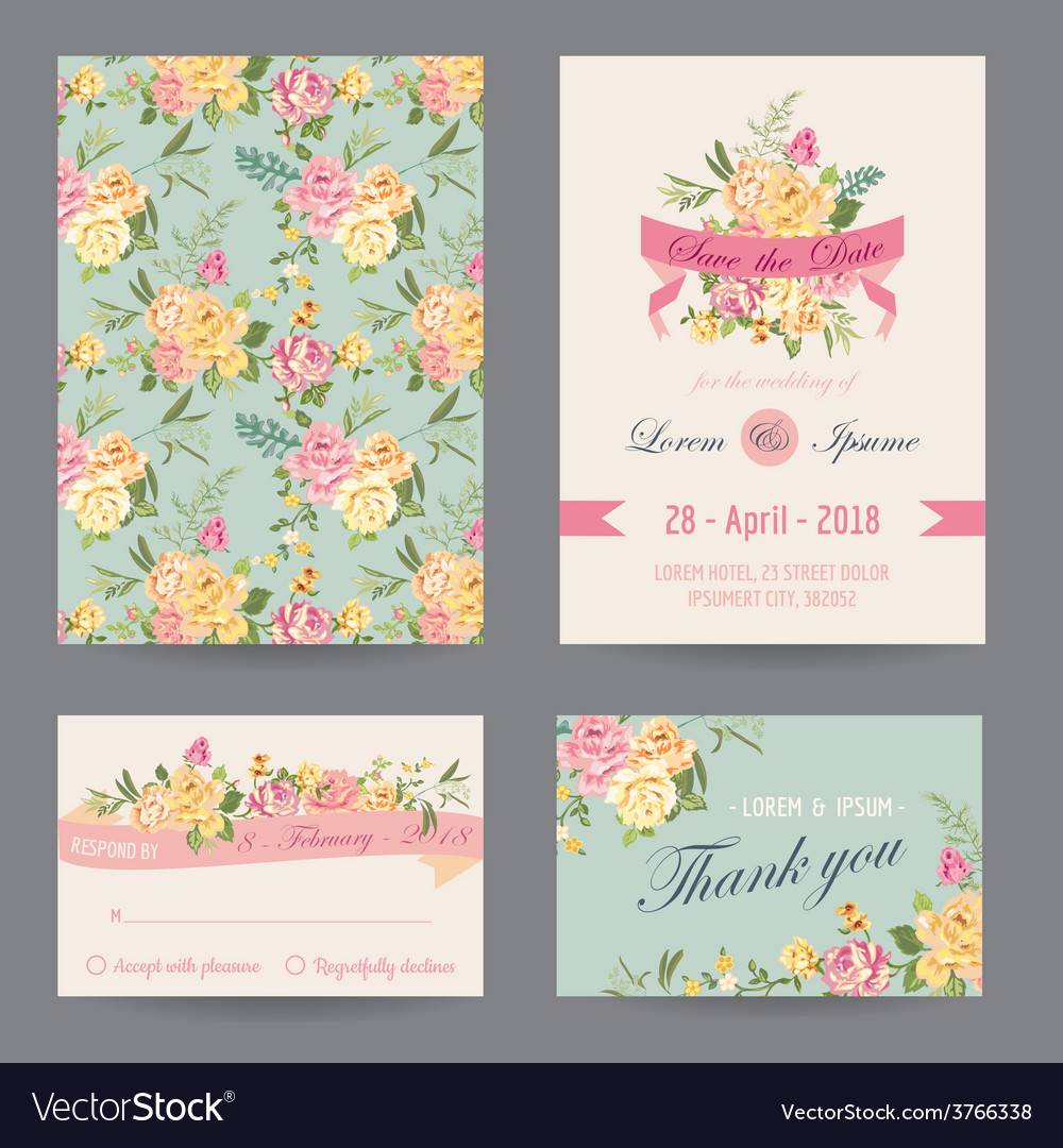 Invitation congratulation card set vector | Price: 1 Credit (USD $1)