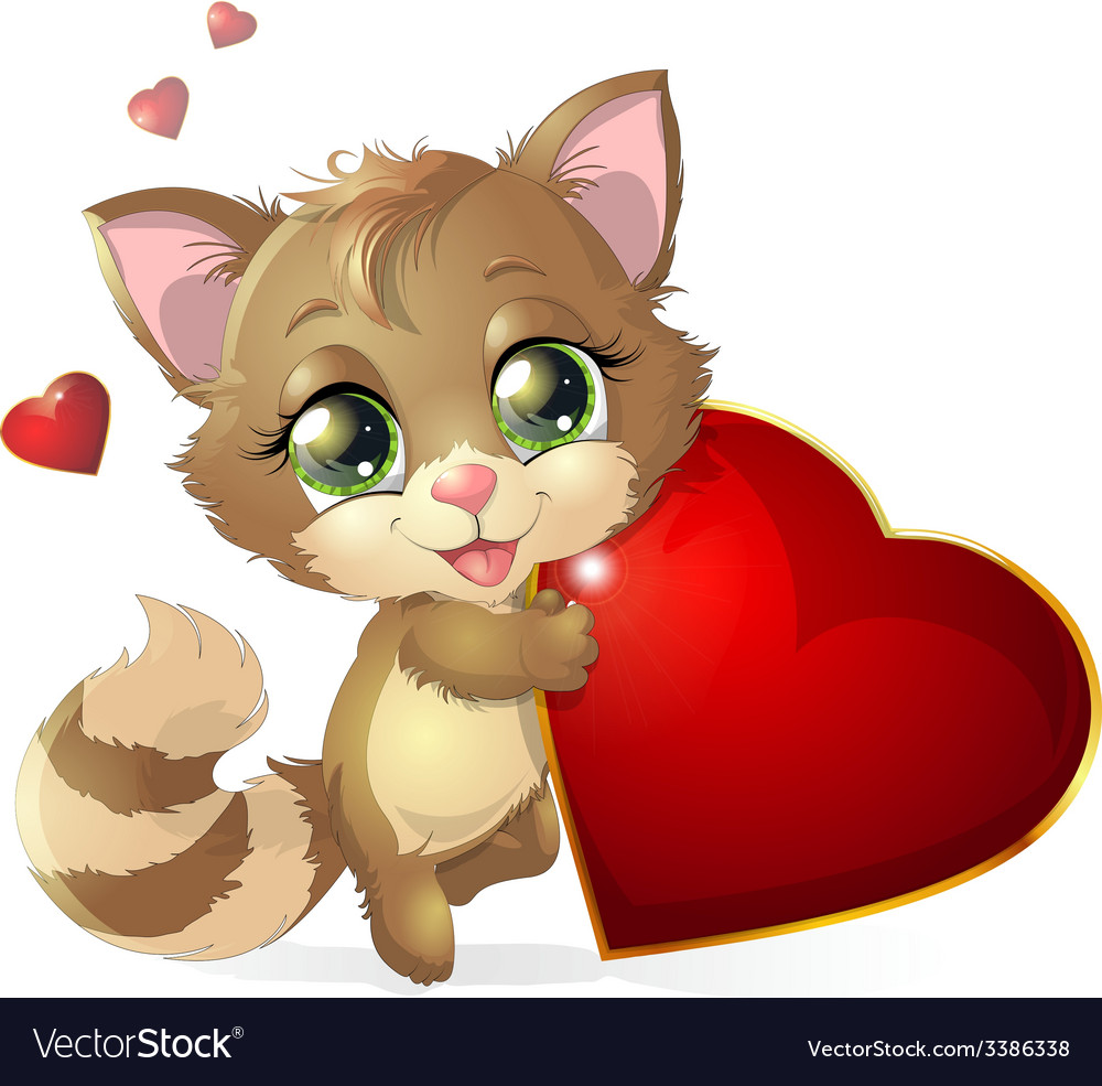 Kitten and heart vector | Price: 3 Credit (USD $3)