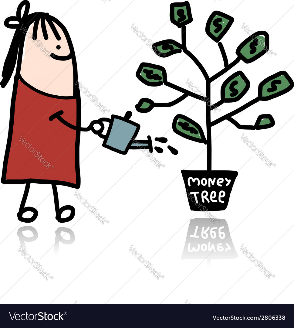 Man watering a money tree vector | Price: 1 Credit (USD $1)