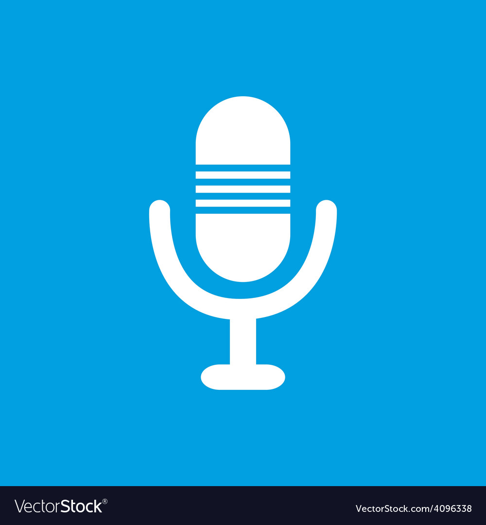 Microphone white icon vector | Price: 1 Credit (USD $1)