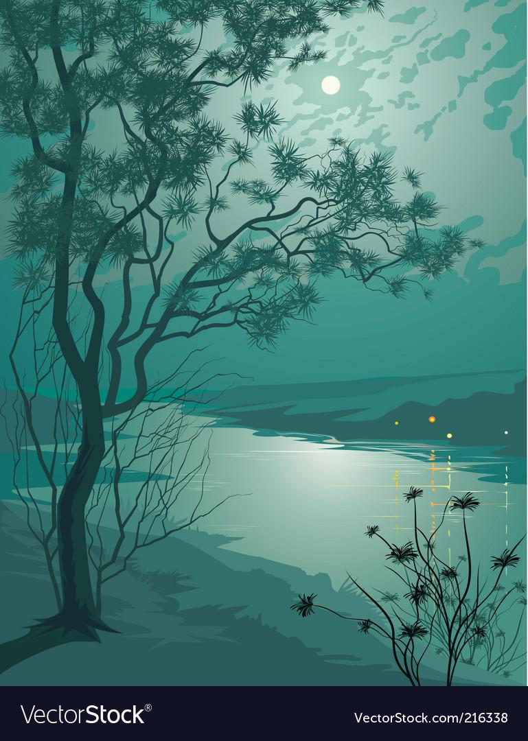 Moonlight night vector | Price: 1 Credit (USD $1)