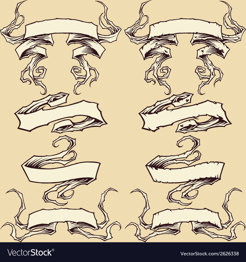 Ribbons and damaged ribbons set 003 vector | Price: 1 Credit (USD $1)