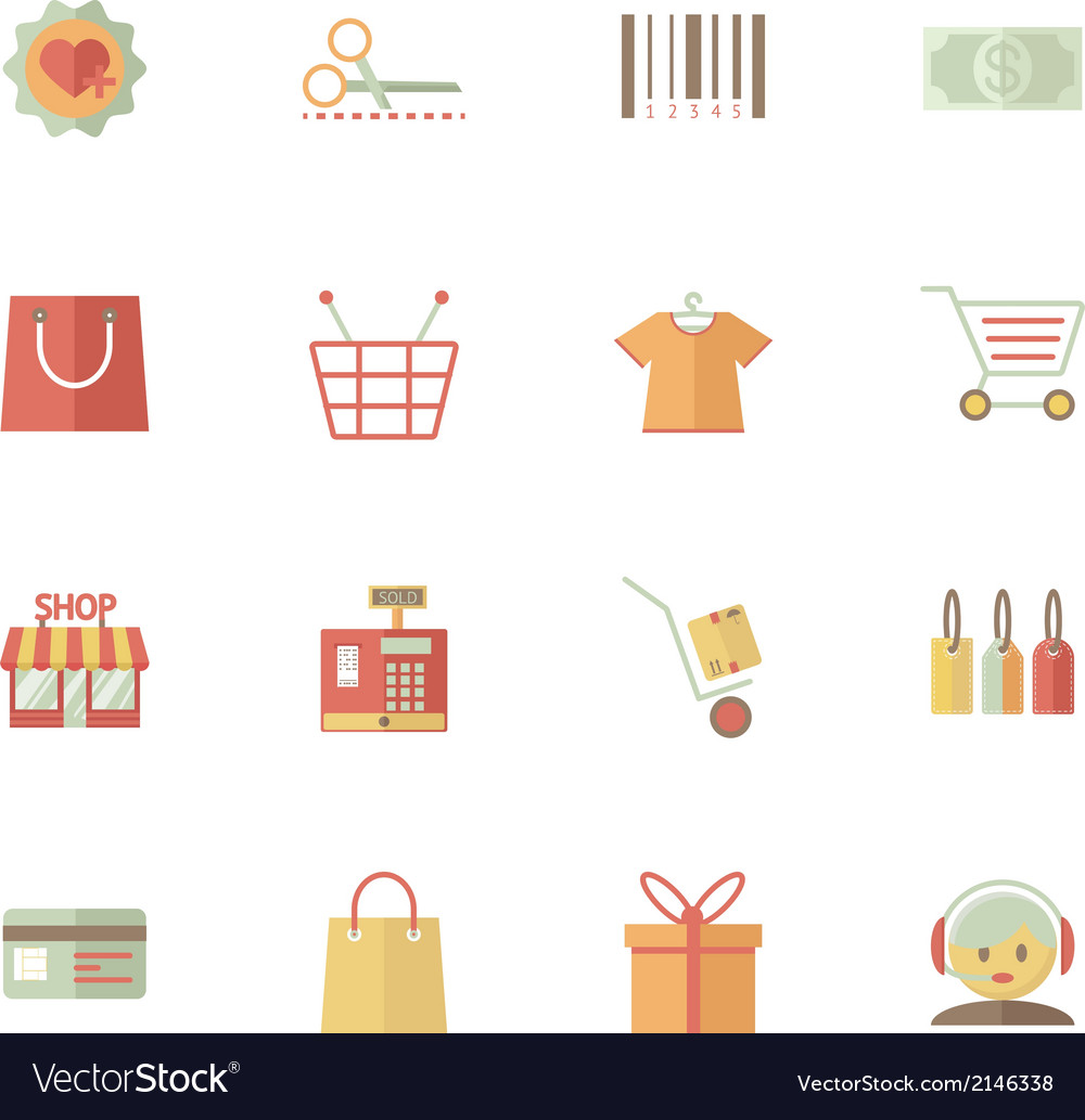 Set of supermarket services and shopping icons vector | Price: 1 Credit (USD $1)