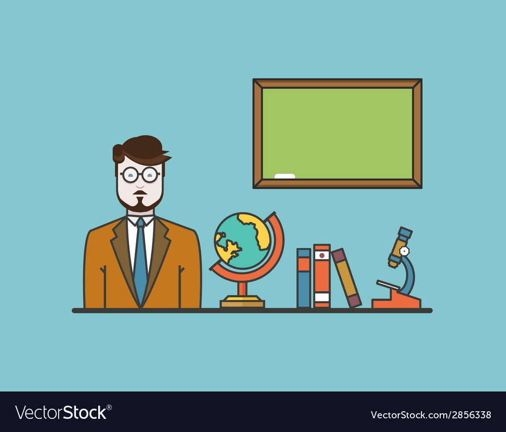 Teacher with school objects flat design style vector | Price: 1 Credit (USD $1)