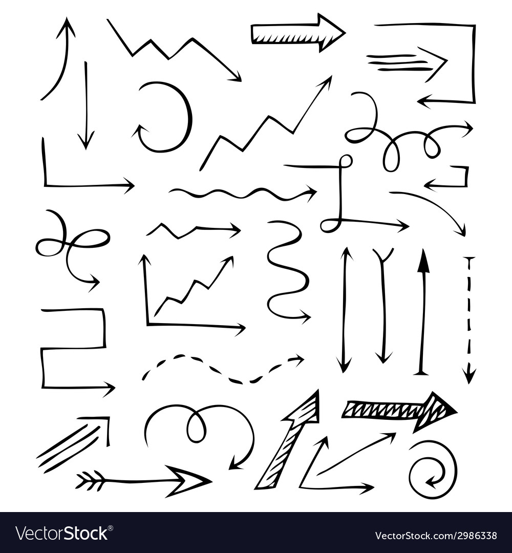 Vintage hand drawn arrows isolated on white vector | Price: 1 Credit (USD $1)