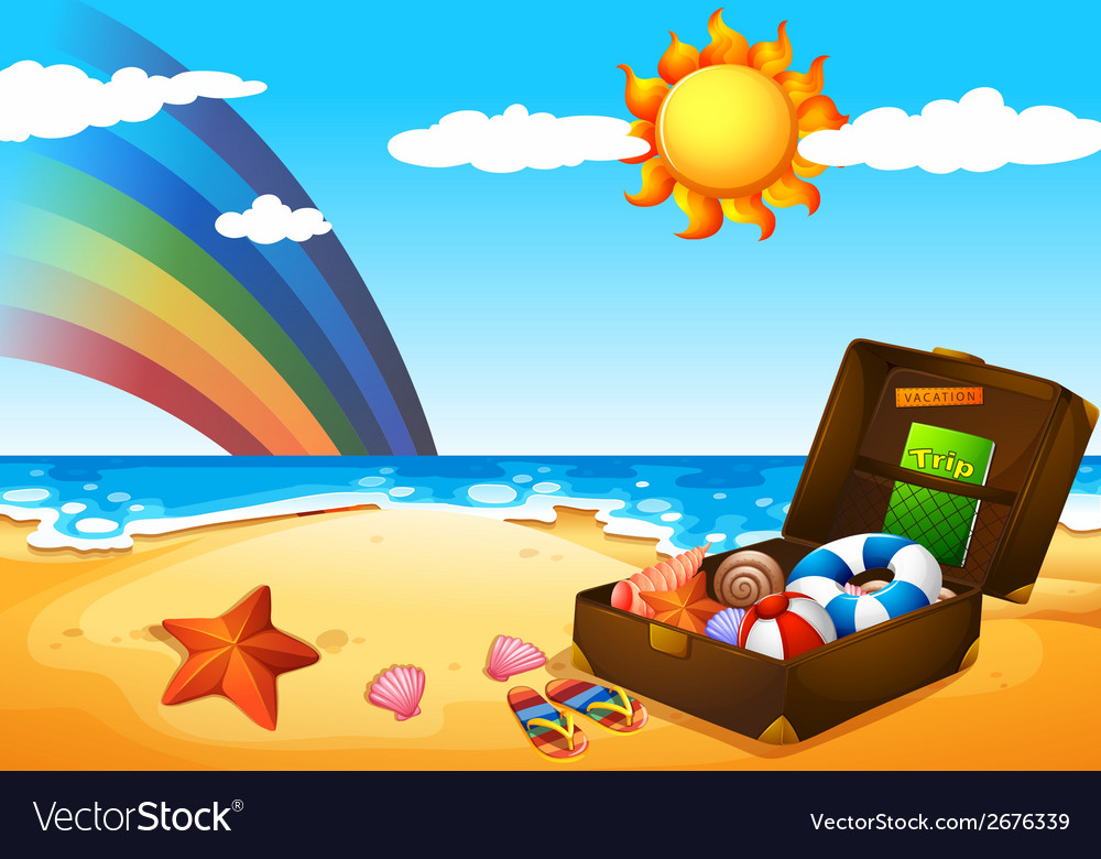 A beach under the sky with a rainbow and a bright vector | Price: 1 Credit (USD $1)