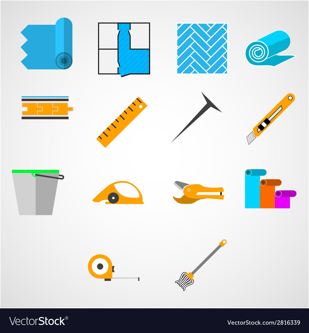 Colored flat icons for working with linoleum vector | Price: 1 Credit (USD $1)