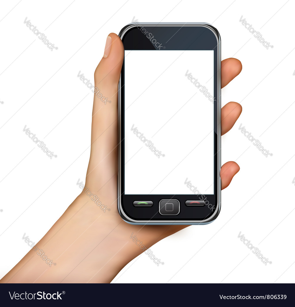 Hand with smartphone vector | Price: 3 Credit (USD $3)