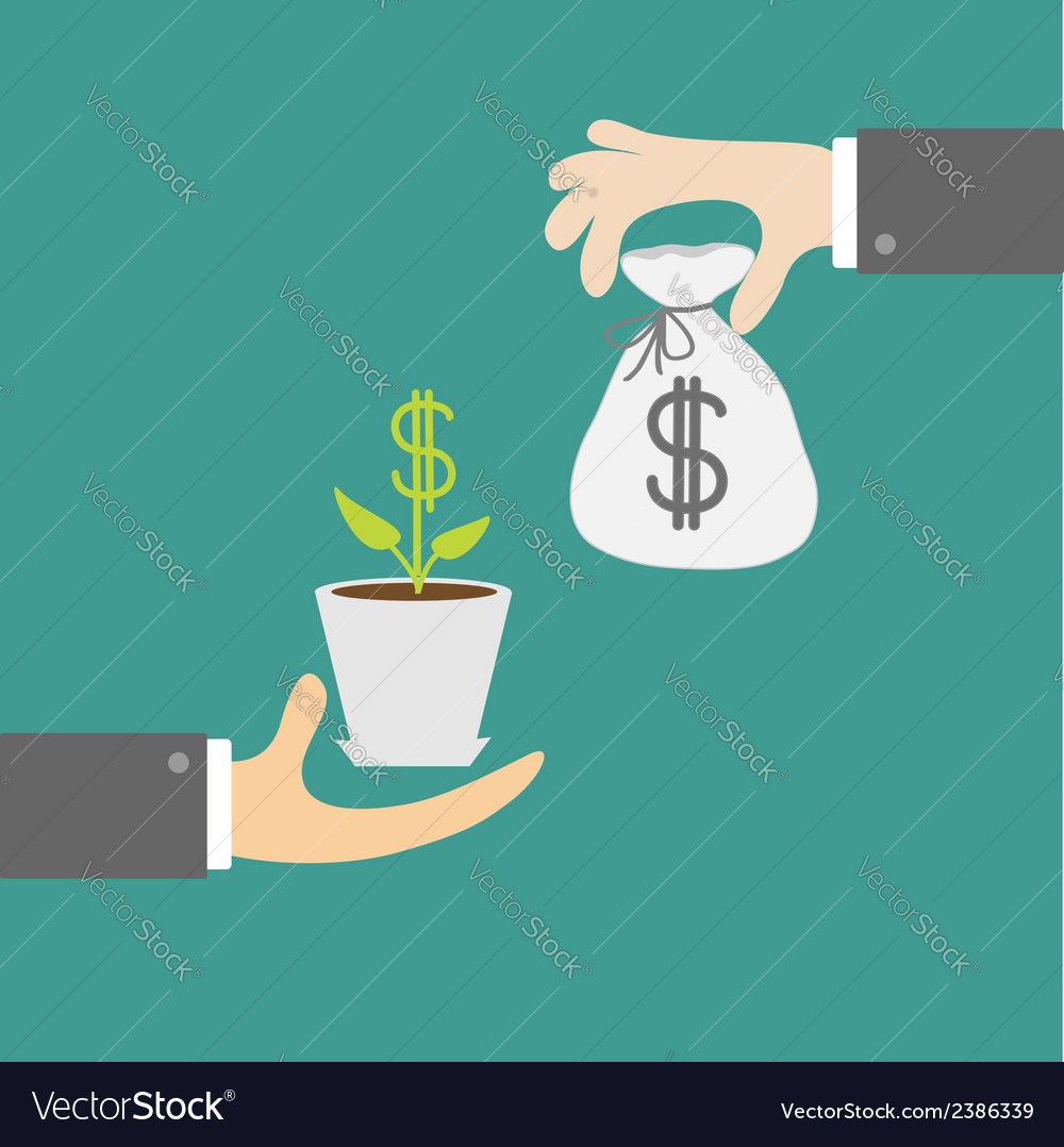 Hands with money tree and moneybag exchanging vector | Price: 1 Credit (USD $1)