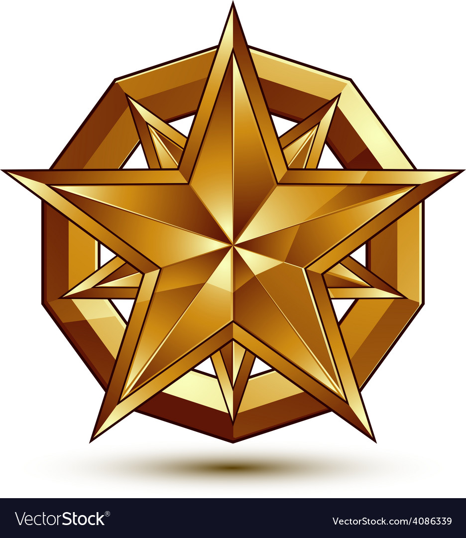 Heraldic template with five-pointed golden star vector | Price: 1 Credit (USD $1)