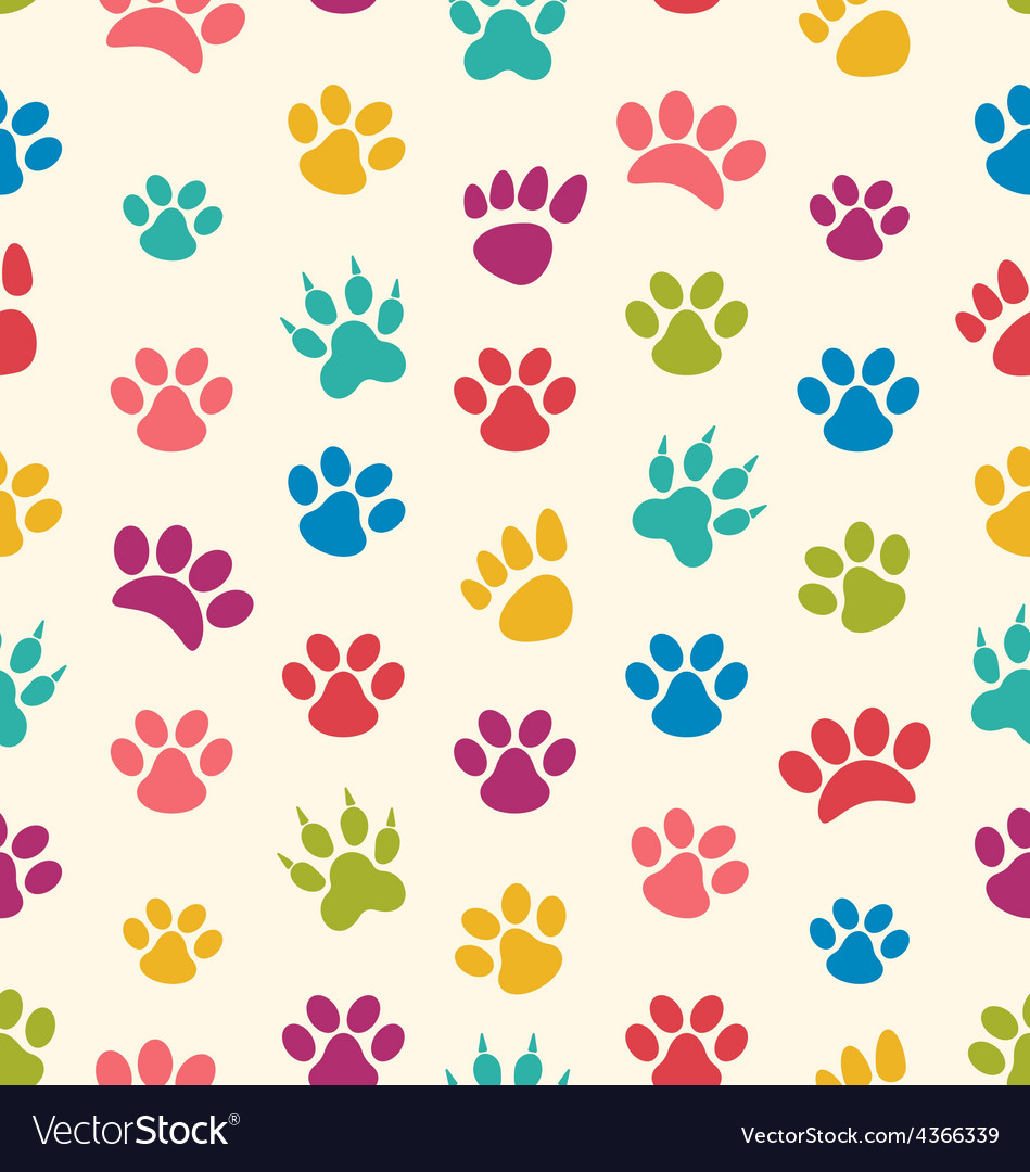 Seamless texture with traces of cats dogs imprints vector | Price: 1 Credit (USD $1)