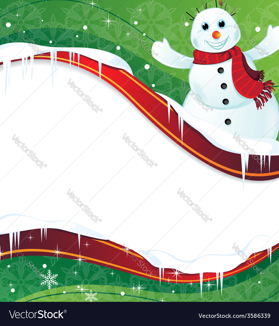 Winter background with a happy snowman in red vector | Price: 1 Credit (USD $1)