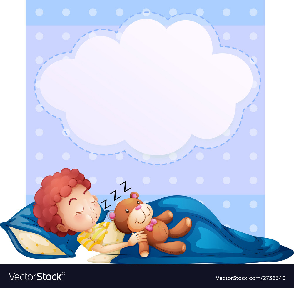Banner with boy sleeping vector | Price: 1 Credit (USD $1)