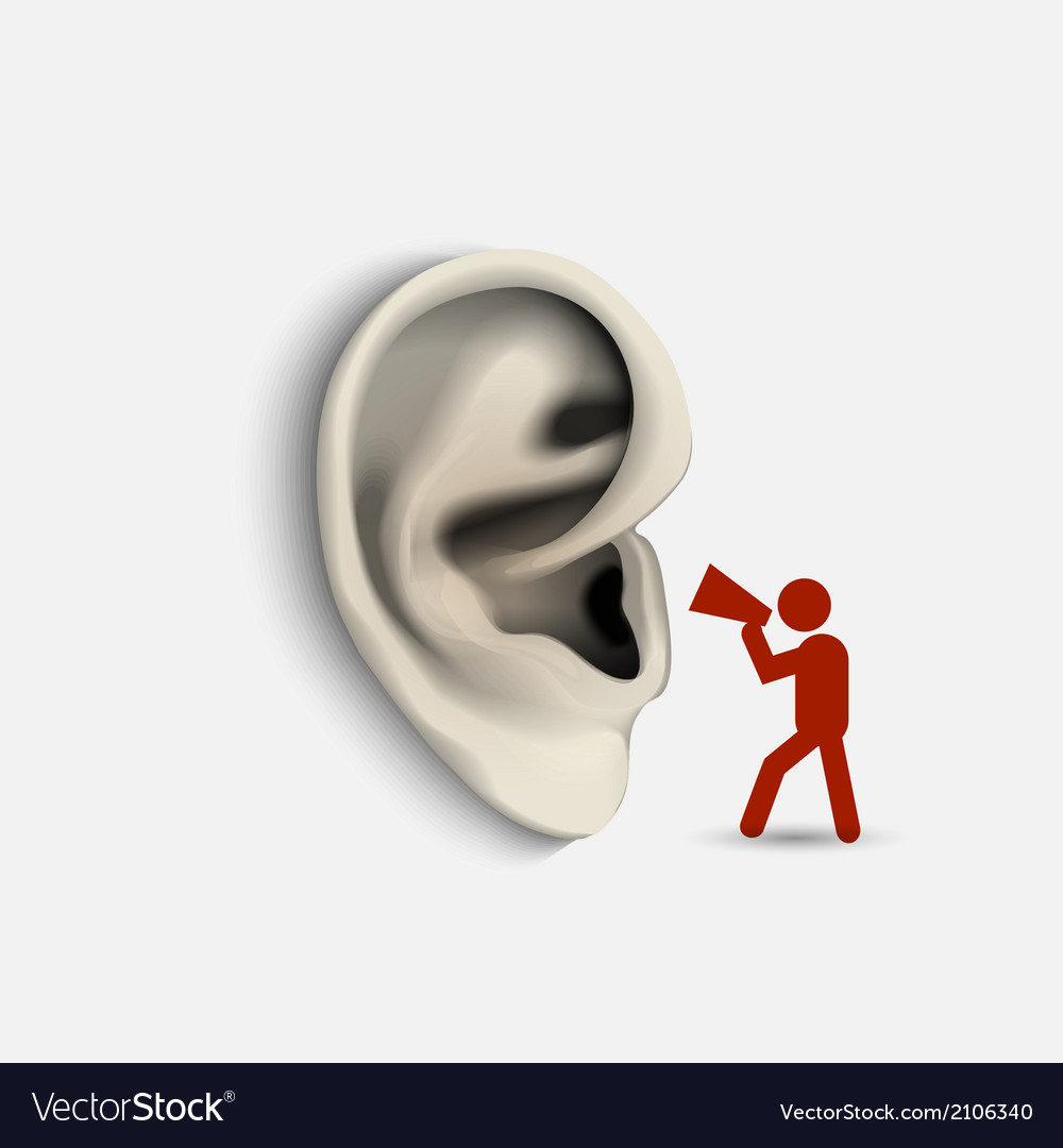 Ear and icon man with megaphone vector | Price: 1 Credit (USD $1)