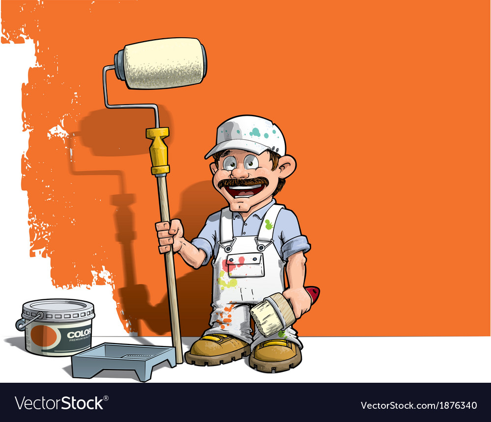 Handyman wall painter white uniform vector | Price: 3 Credit (USD $3)