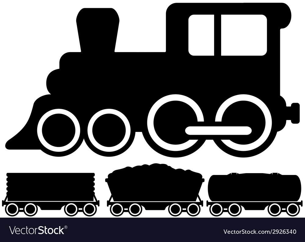 Isolated locomotive train and car vector | Price: 1 Credit (USD $1)