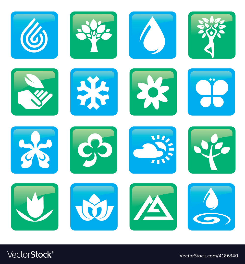 Nature and water icons buttons vector | Price: 1 Credit (USD $1)