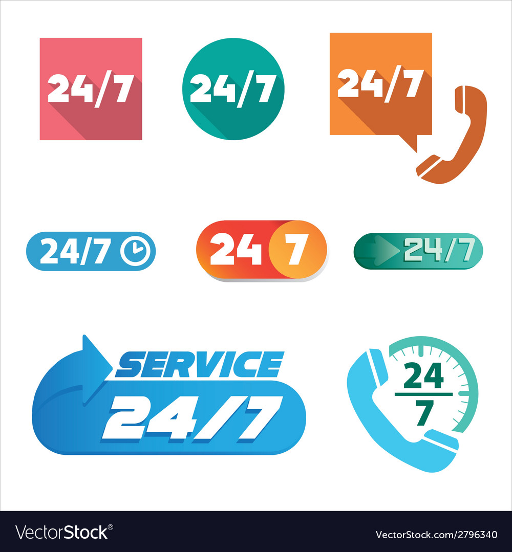 Open 24 hours a day and 7 days a week icons vector | Price: 1 Credit (USD $1)