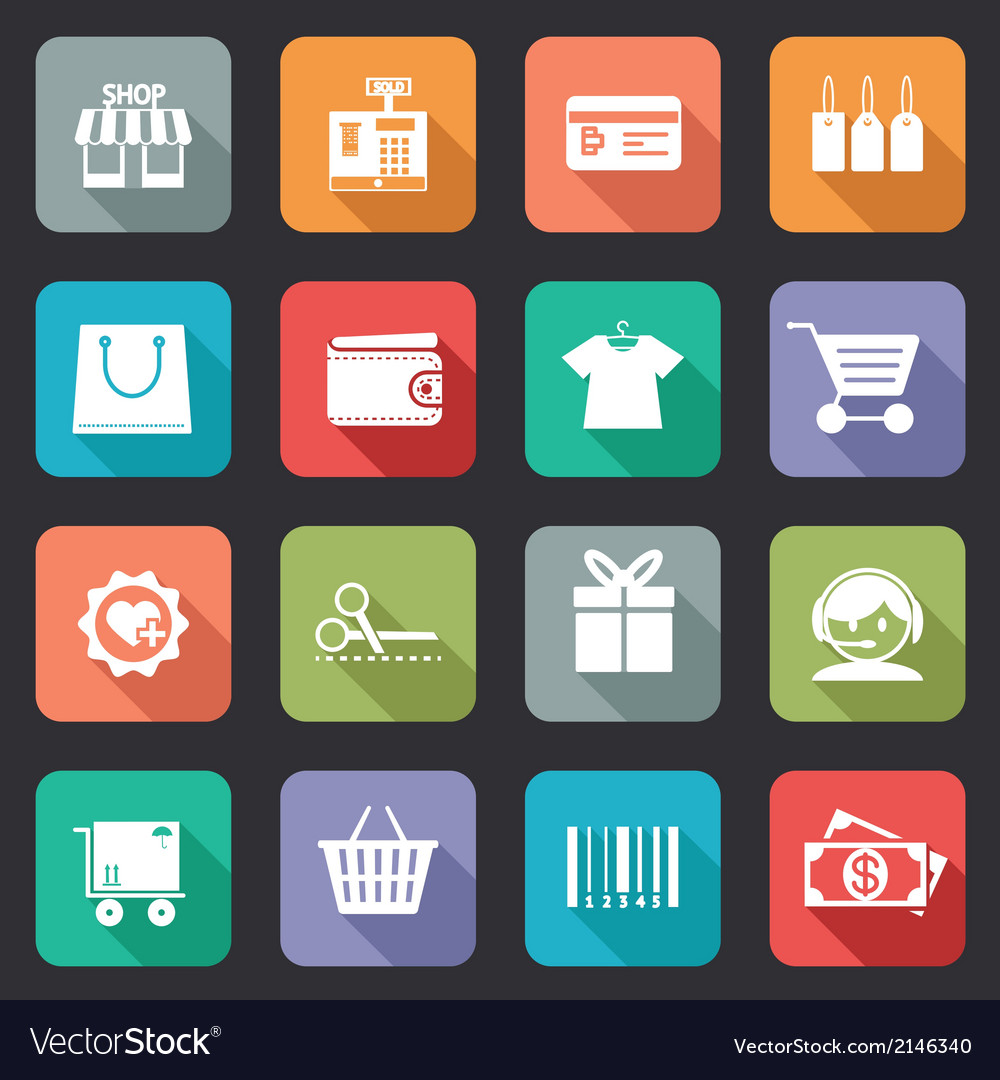 Set of colorful purchase icons in flat style vector | Price: 1 Credit (USD $1)