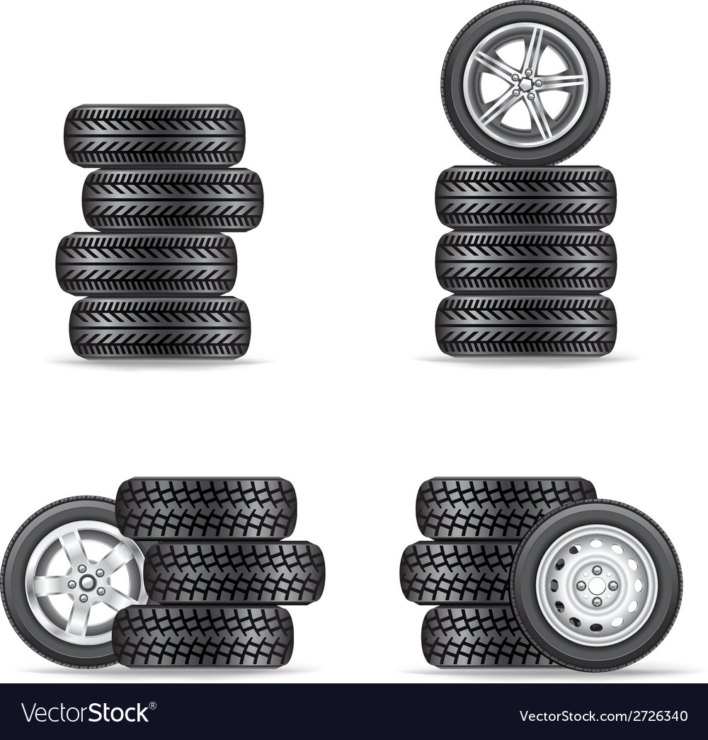 Set of tires for cars vector | Price: 1 Credit (USD $1)
