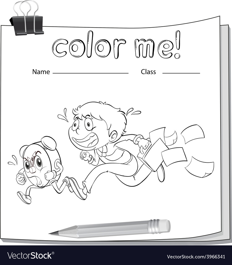 A coloring worksheet with a boy vector   Price: 1 Credit (USD $1)