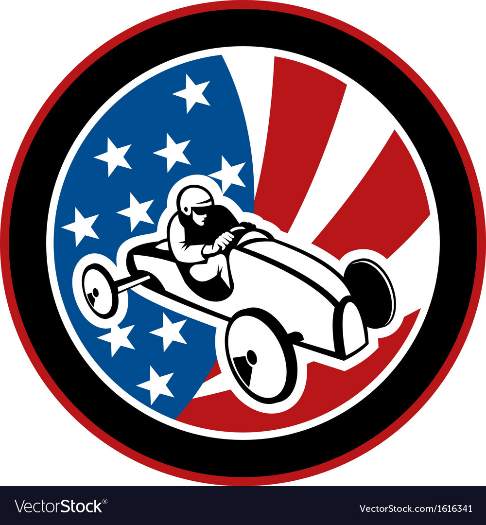 American soap box derby car with stars and stripes vector | Price: 1 Credit (USD $1)