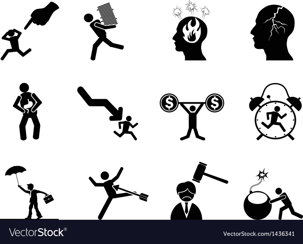 Businessman working stressed icon vector | Price: 1 Credit (USD $1)