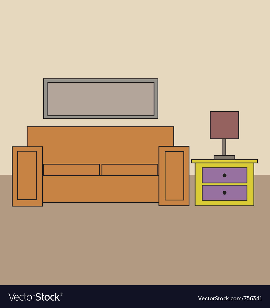 Cartoon sofa and draws and lamp vector | Price: 1 Credit (USD $1)
