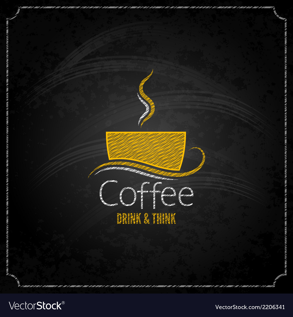 Coffee cup chalk label concept menu vector | Price: 1 Credit (USD $1)