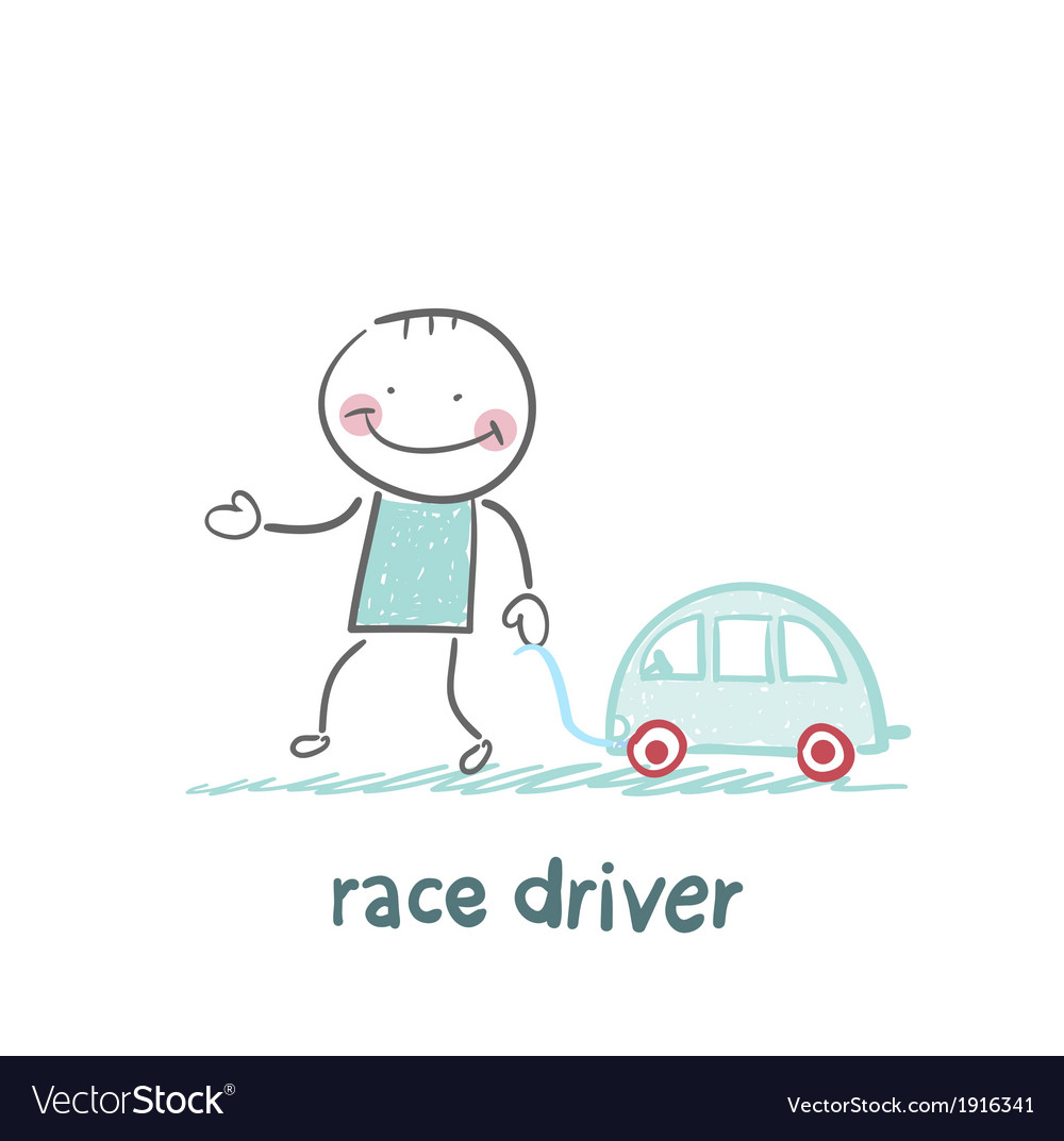 Driver race car with a toy car vector | Price: 1 Credit (USD $1)
