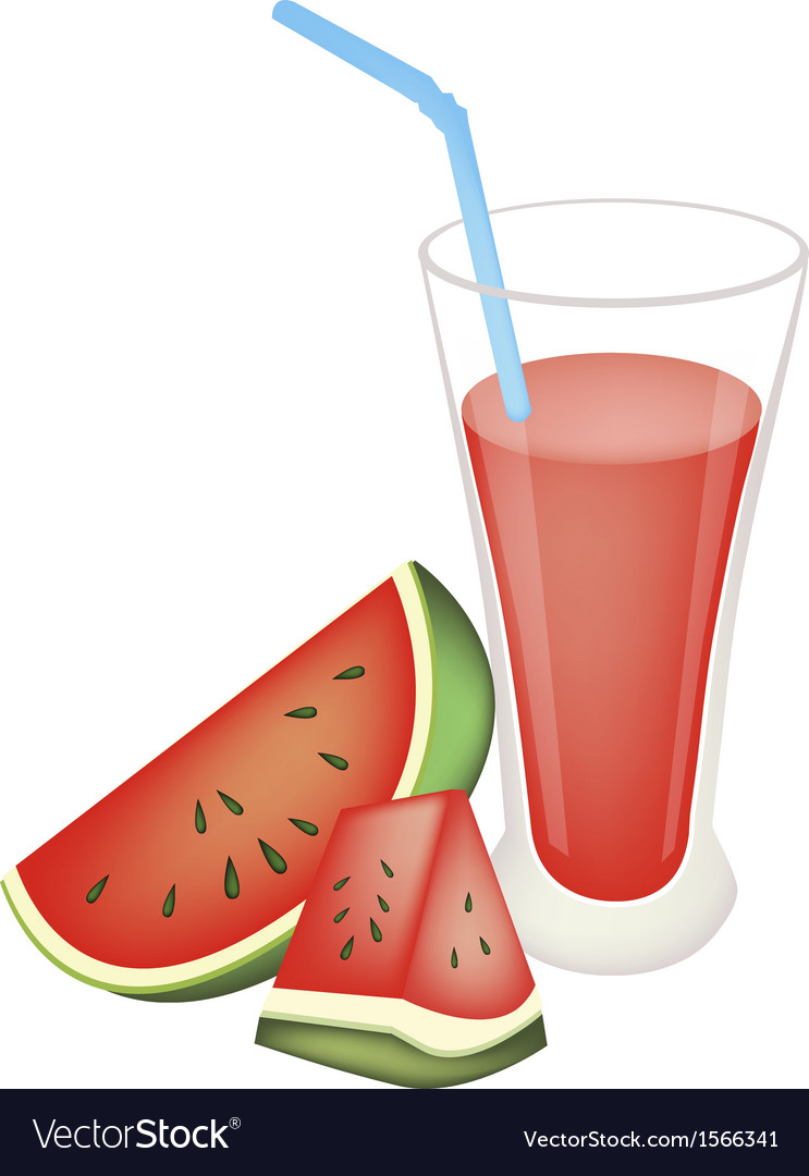 Glass of red watermelon juice and watermelon fruit vector | Price: 1 Credit (USD $1)