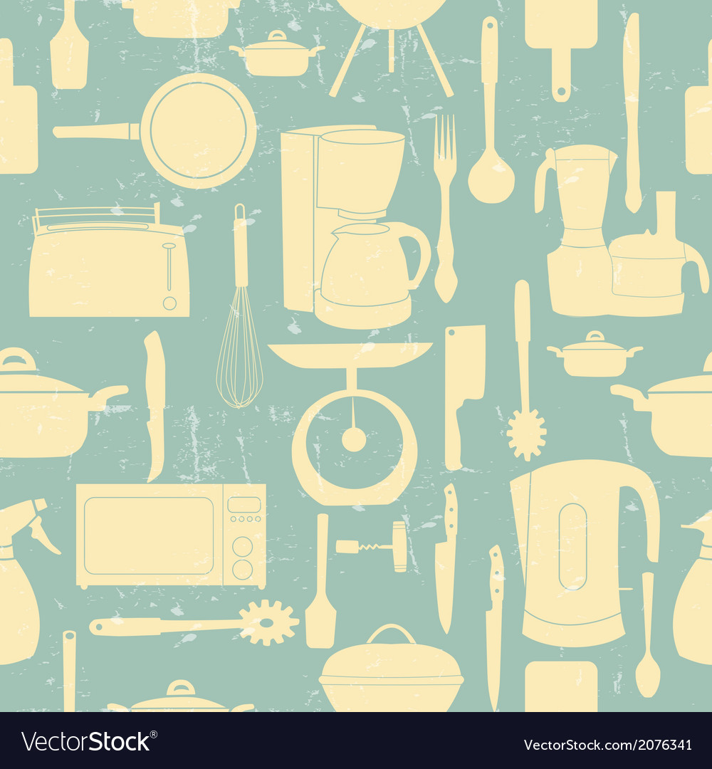 Grunge retro seamless pattern of kitchen too vector | Price: 1 Credit (USD $1)