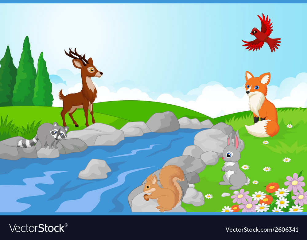 Nature landscape background with wild animals cart vector | Price: 3 Credit (USD $3)