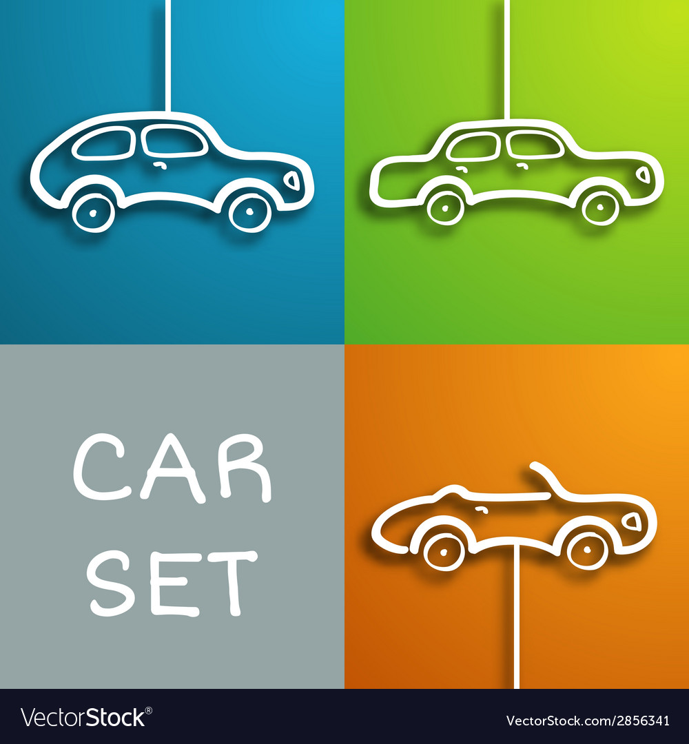 Paper car set vector | Price: 1 Credit (USD $1)
