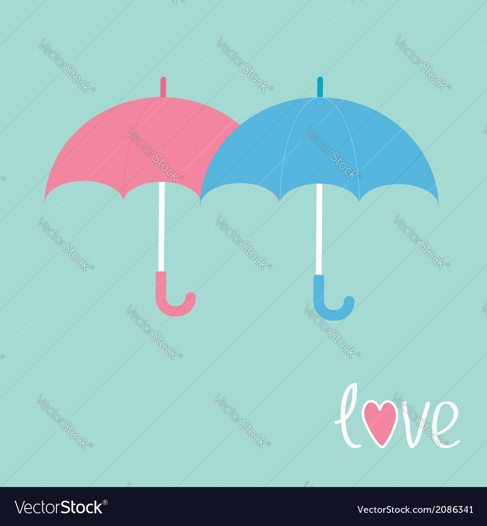 Pink and blue umbrellas love card vector | Price: 1 Credit (USD $1)