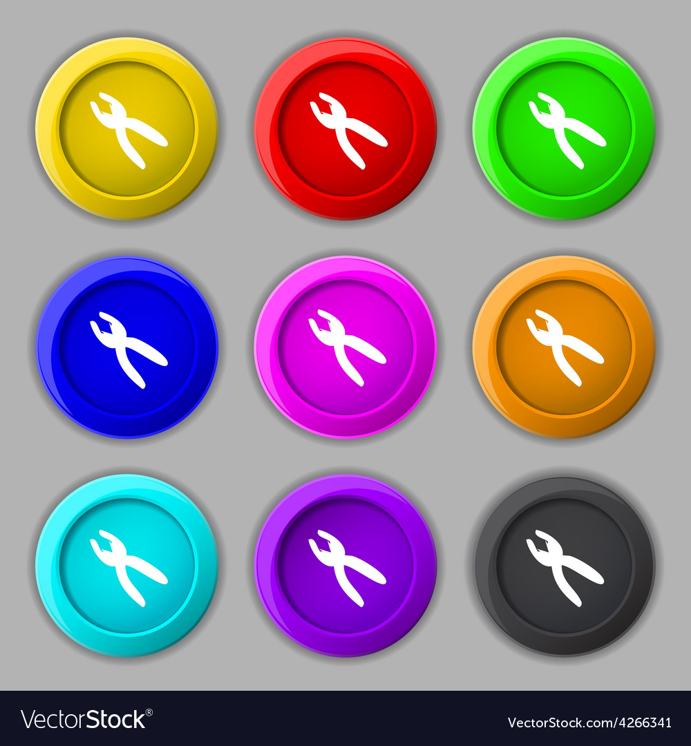 Pliers icon sign symbol on nine round colourful vector   Price: 1 Credit (USD $1)