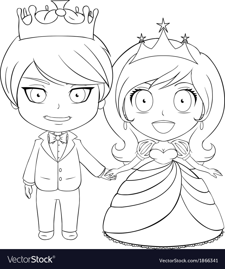 Prince and princess coloring page 1 vector | Price: 1 Credit (USD $1)