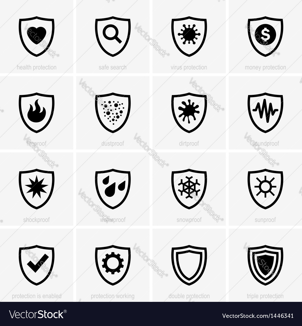 Protection icons vector | Price: 1 Credit (USD $1)