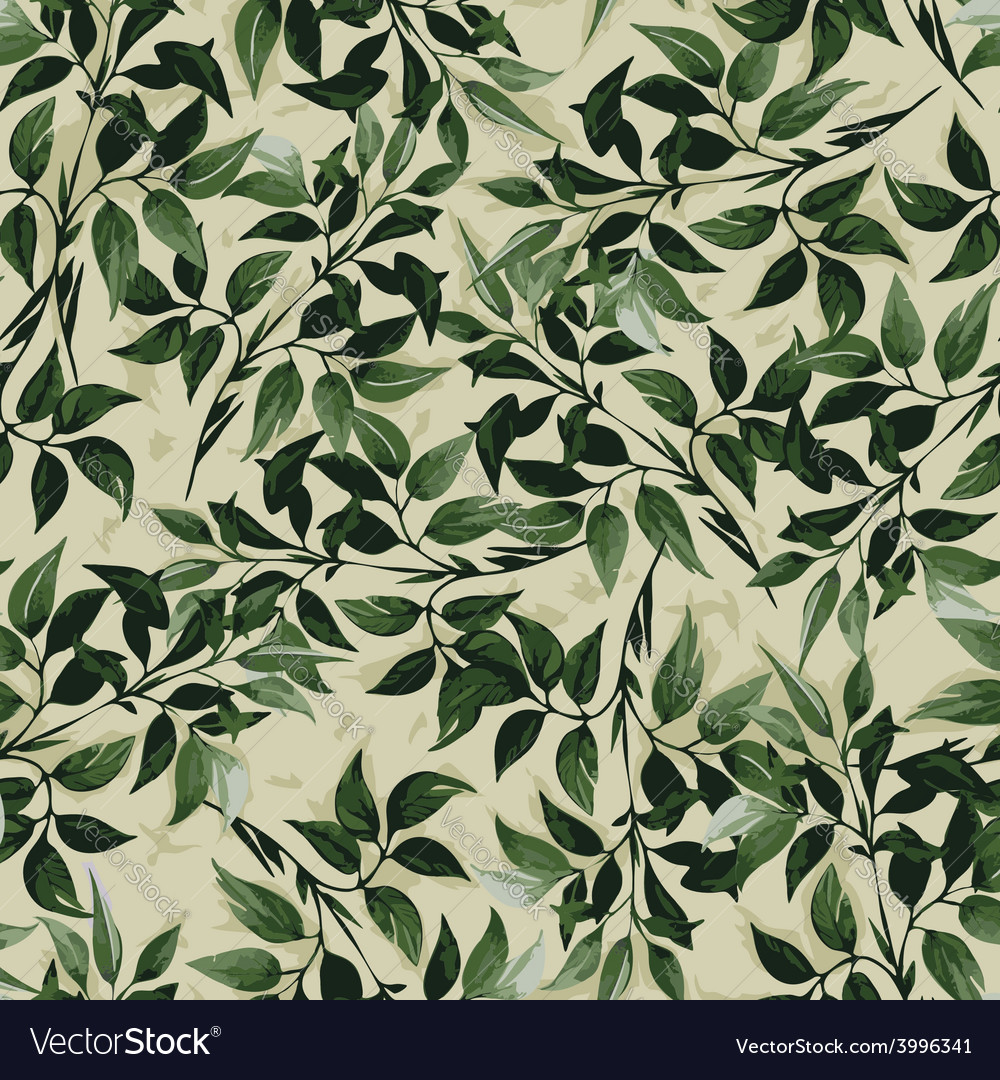 Seamless floral pattern with ficus leaves vector | Price: 1 Credit (USD $1)