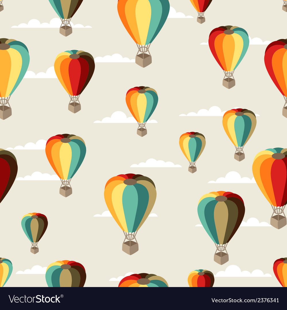 Seamless travel pattern of hot air balloons vector | Price: 1 Credit (USD $1)