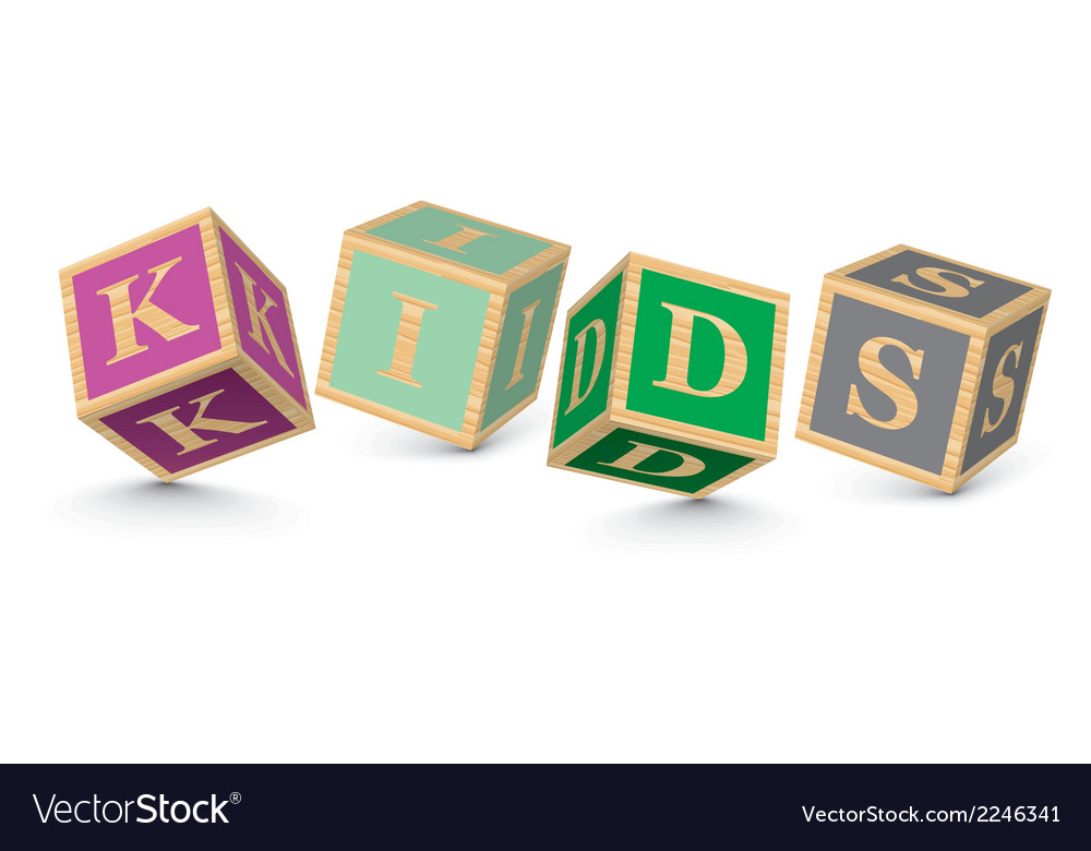 Word kids written with alphabet blocks vector | Price: 1 Credit (USD $1)