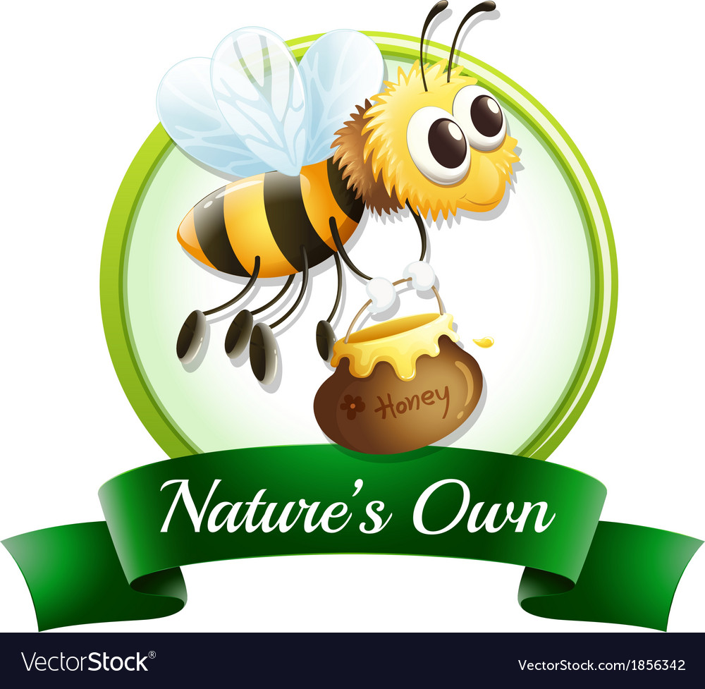 A label with a bee holding a pot vector | Price: 1 Credit (USD $1)