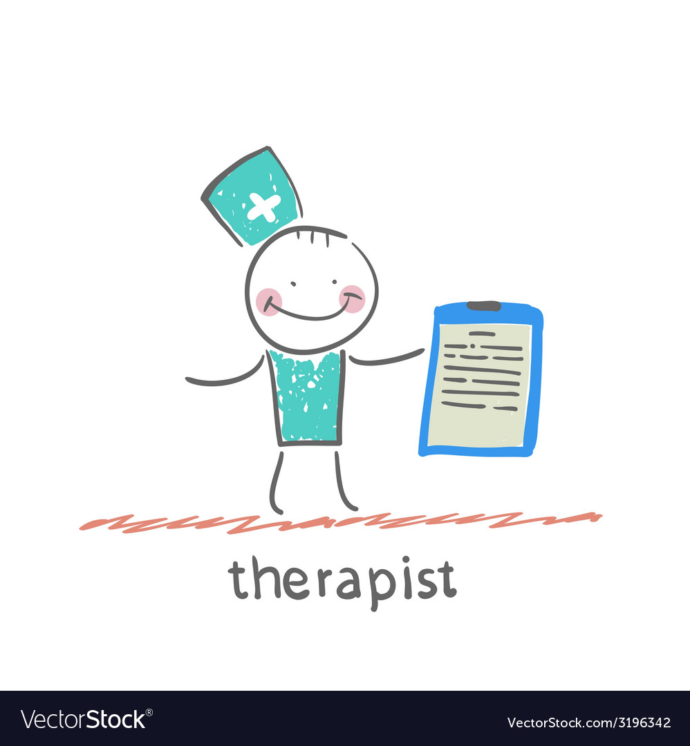 Therapist holding folder in hand vector | Price: 1 Credit (USD $1)