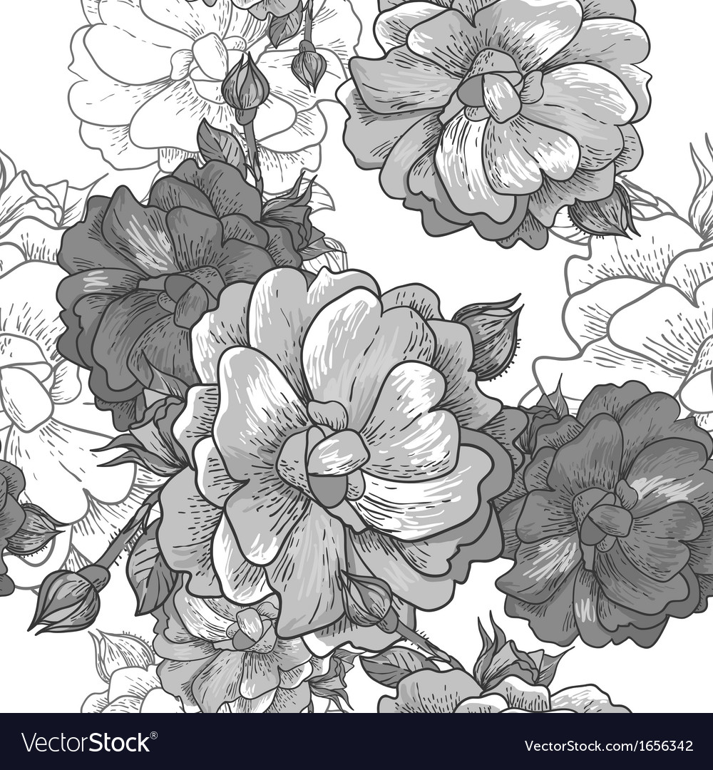 Beautiful monochrome seamless rose background vector   Price: 1 Credit (USD $1)