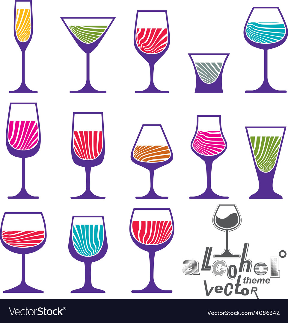 Classic martini wineglass collection vector | Price: 1 Credit (USD $1)