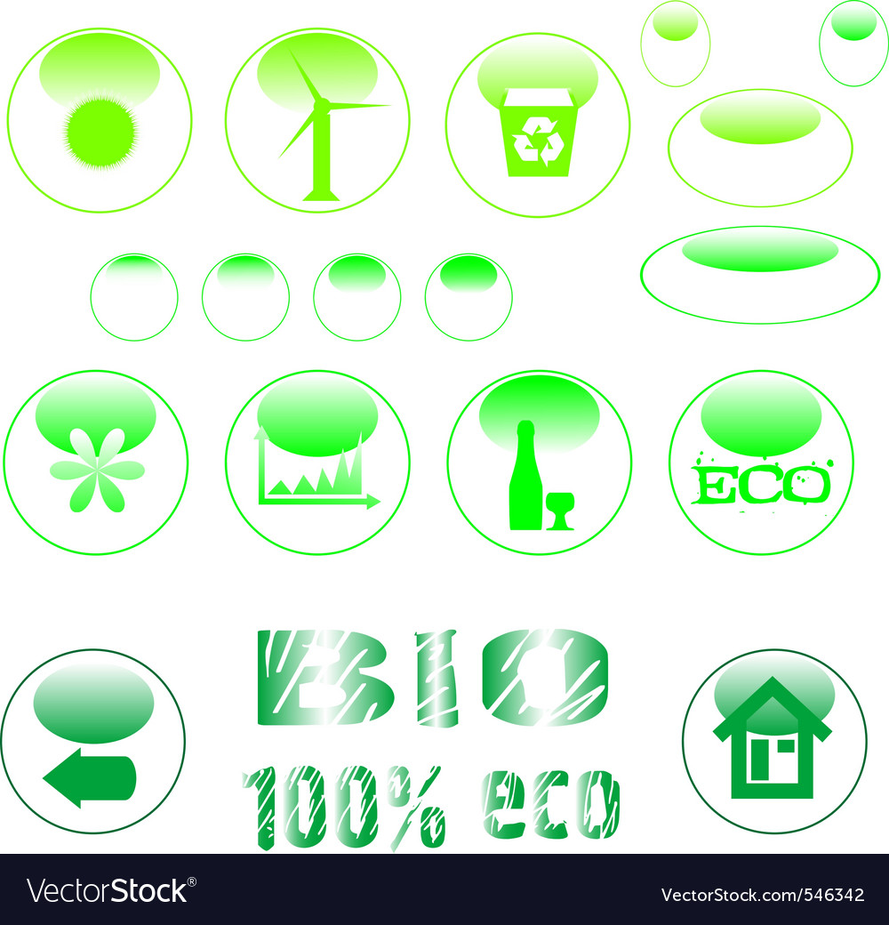 Eco icon set green button vector | Price: 1 Credit (USD $1)