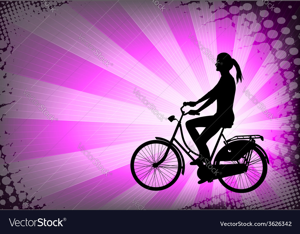 Female bicyclist on the abstract background vector | Price: 1 Credit (USD $1)